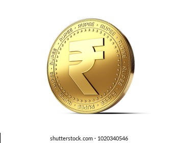 Rupee sign on golden coin. Photo realistic 3D rendering isolated on white background