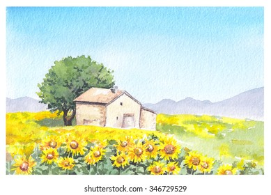 Rural farm - provencal house and sunflower field. Watercolor