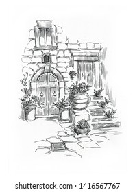 Rural house landscape. Village landscape. Scan of Original pen and ink drawing. Fullsize raster artwork.