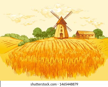 Rural landscape  field of wheat, agricultural landscape. Old Barn house, windmill, trees, plants, fences and other elements, panorama. Hand drawn watercolor sketch illustration