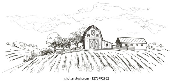 Rural landscape field wheat, Old Barn, house, trees, windmills, animals, cows, silage tower, plants, fences and other elements, forest panorama. Hand drawn  Countryside engraving