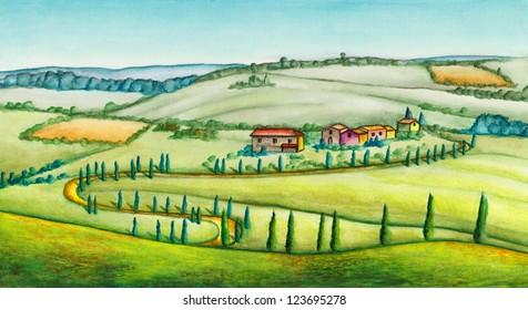 Rural landscape in Italy. Original watercolor illustration.