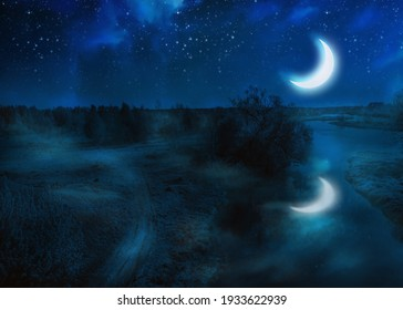 Rural landscape with river and crescent moon in the sky, photo manipulation.