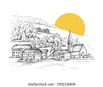 Rural landscape with sunrise. Italy, Europe. Santa Maddalena. Val di Funes valley. Sketch vector illustration with a church, village houses on the hill. Vintage design for t-shirt print, postcar