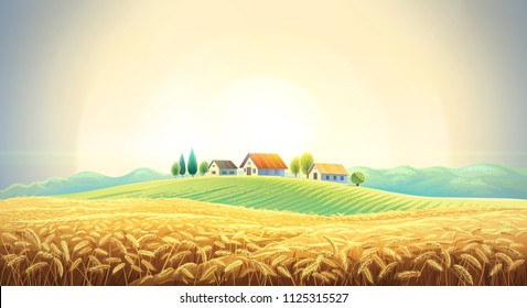 Rural landscape with a wheat field and a village on a hill. Raster illustration.