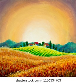 Rural landscape with a wheat field and a village on a hill Oil painting illustration