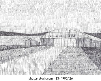 Rural scene with a small aircraft hangar or airport, a shed in a field, in the countryside, illustration. Black and white, gray scale, hand drawn with biro pen, ballpoint pen, late summer, early fall