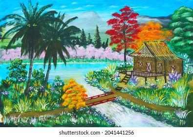 Maison rurale thaïlandaise de ferme ou hutte à côté d'un ruisseau