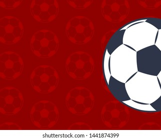 Russia 2018 international football cup color card raster illustration with seamless backdrop that consist from soccer balls collection text sample