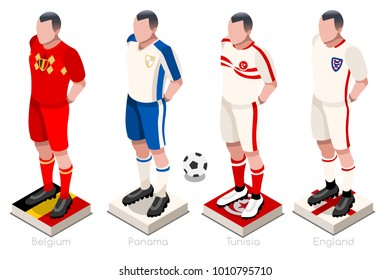 Russia 2018 soccer world cup group G of players with team shirts jersey flags. Referee Russia soccer 2018 championship football  illustration.