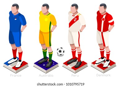 Russia 2018 Soccer world cup group C players with team shirts flags and ball. Isometric football  illustration.