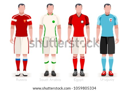 Russia 2018 soccer world cup group A players with team shirts flags.  Referee football illustration e9836570e