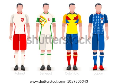 Russia 2018 soccer world cup group H players with team shirts flags.  Referee football illustration 782ff6e8e