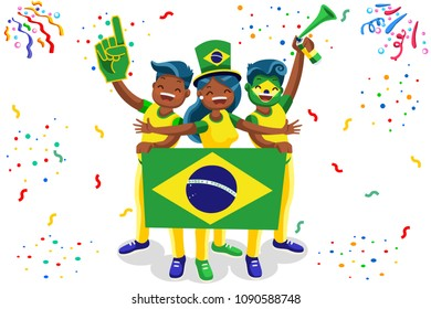Russia 2018 world cup, Brazil football fans. Cheerful soccer fans, supporters crowd and Brazilians flag. Brazil national day. Isometric people, illustration, sports images. Isolated background.