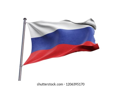 Russia 3D flag waving on white background, close up, isolated with clipping path