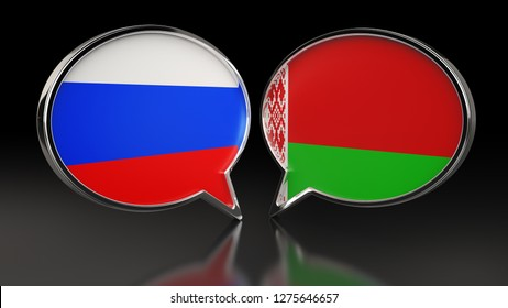 Russia and Belarus flags with Speech Bubbles. 3D illustration