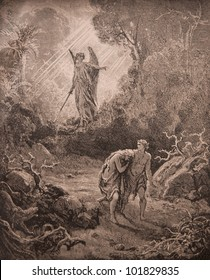 """RUSSIA - CIRCA 1913: An engraving printed in Russia shows image """"Expulsion of Adam and Eve from Paradise"""", The book """"Holy Bible"""", circa 1913"""