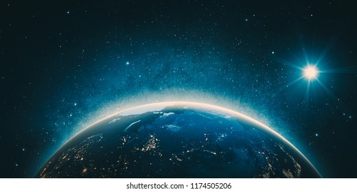Russia city lights from space. 3D Rendering. Stars my own photo. Elements of this image furnished by NASA