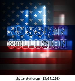 Russia Collusion Design Depicting Conspiracy And Cooperation With The Russian Government 3d Illustration. Dirty Politics In The United States