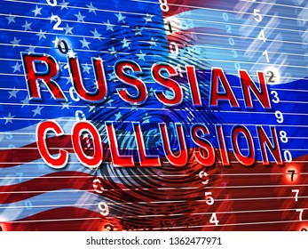 Russia Collusion Fingerprint Depicting Conspiracy And Cooperation With The Russian Government 3d Illustration. Dirty Politics In The United States