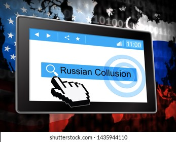 Russia Collusion Tablet Depicting Conspiracy And Cooperation With The Russian Government 3d Illustration. Dirty Politics In The United States