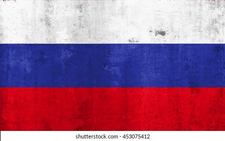 Russia  country flag with grunge wall texture background.