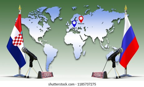 World map flags images stock photos vectors shutterstock russia and croatia flags negotiate and talking speech russian croatian flag on metal rack with microphone gumiabroncs Images