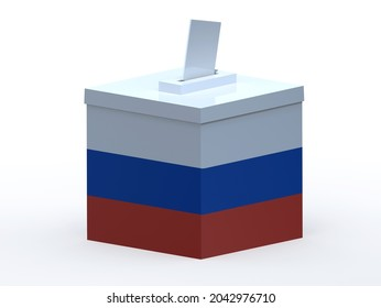 Russia election ballot box whit arms, legs and envelope paper on hands, 3d illustration