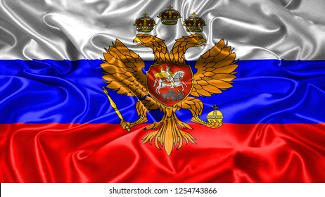 Russia Empire czar flag on silk and  satin texture with mask