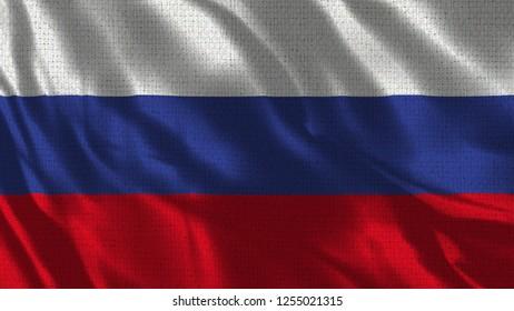 Russia Flag - 3D illustration Flag - Fabric Texture