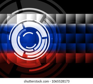 Russia Flag Design Showing Hacking 3d Illustration. Cyber Crime  Criminal Campaign by Russian Government To Hack Elections In The USA Using Illegal Online Spying.