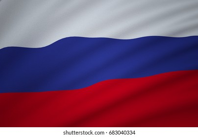 Russia Flag, Floating Fabric Flag, Russia, 3D Render