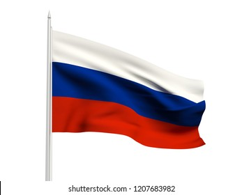 Russia flag floating in the wind with a White sky background. 3D illustration.
