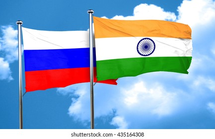 Russia flag with India flag, 3D rendering