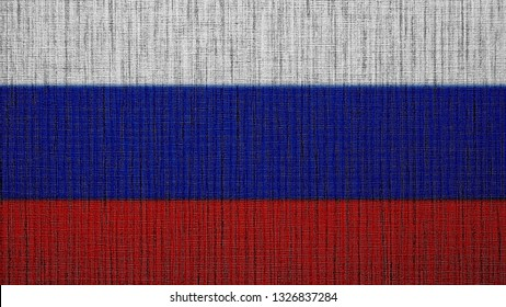 Russia flag. RU Federation flag with texture.