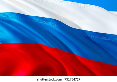 Russia flag. Russian flag 3d. Waving Flag of russia. 3D Waving flag design. Red, white and blue flags. The national symbol of Russia Federation. Waving sign background wallpaper