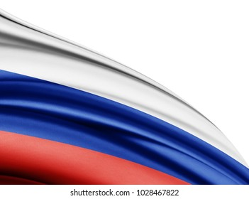 Russia  flag of silk with copyspace for your text or images and white background-3D illustration