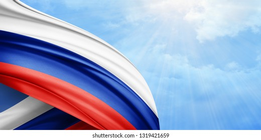 Russia flag of silk with copyspace for your text or images and sky background-3D illustration