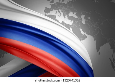 Russia flag of silk with copyspace for your text or images and world map background-3D illustration