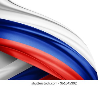 Russia  flag of silk with copyspace for your text or images and white background