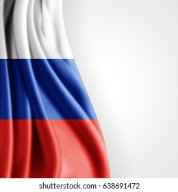 Russia flag of silk with copyspace for your text or images and white background -3D illustration