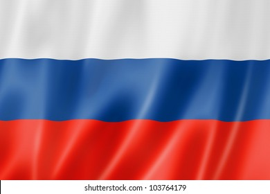 Russia flag, three dimensional render, satin texture
