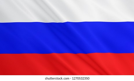 Russia flag is waving 3D illustration. Symbol of Russian national on fabric cloth 3D rendering in full perspective.