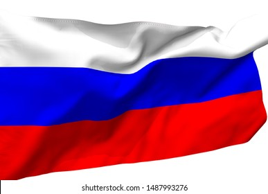 Russia flag is waving in the wind. 3D illustration fabric texture with white background