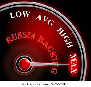 Russia Hacking Meter Shows Maximum Attack 3d Illustration. Cyber Crime  Criminal Campaign by Russian Government To Hack Elections In The USA Using Illegal Online Spying.