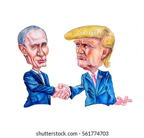 Russia. January 19, 2017. Cartoon portrait of Russian and American presidents at the time of the handshake