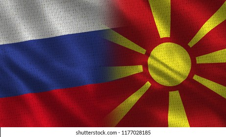 Russia and Macedonia - Two Flag Together - Fabric Texture