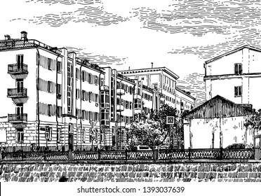 Buildings Pen Ink Images, Stock Photos & Vectors | Shutterstock
