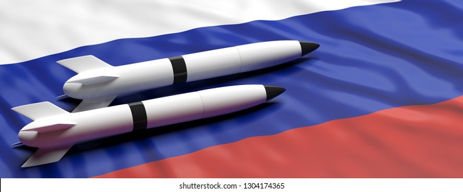Russia nuclear weapons. Rockets, missiles on Russian flag background, banner, copy space. 3d illustration