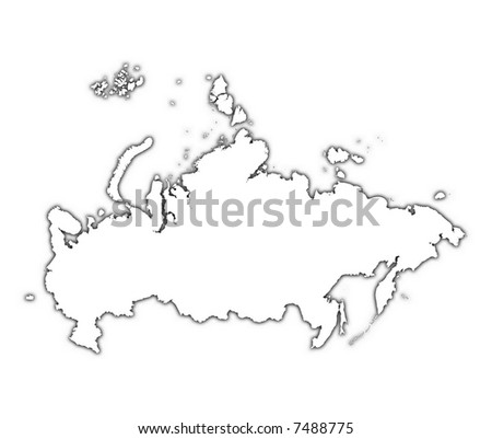 Russia Outline Map Shadow Detailed Mercator Stock Illustration
